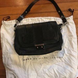 MBMJ black leather crocodile shoulder bag